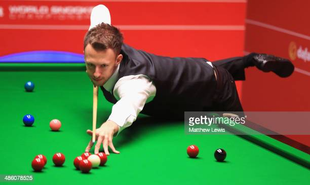 Judd Trump of England in action against Tom Ford of England during day four of the The Dafabet World Snooker Championship at Crucible Theatre on...