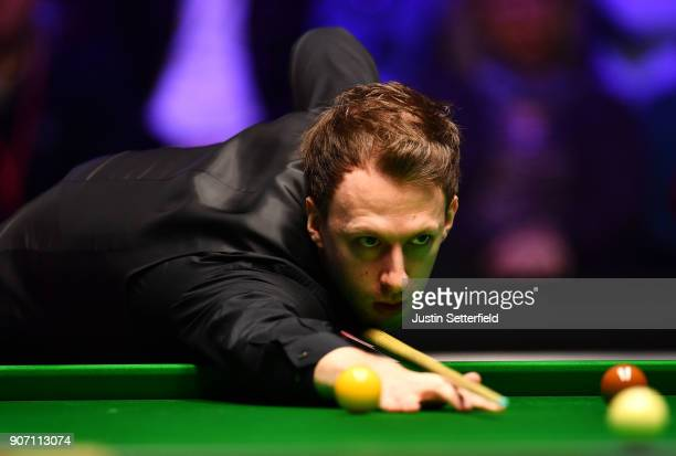 Judd Trump of England in action during his match against Shaun Murphy of England during The Dafabet Masters on Day Six at Alexandra Palace on January...