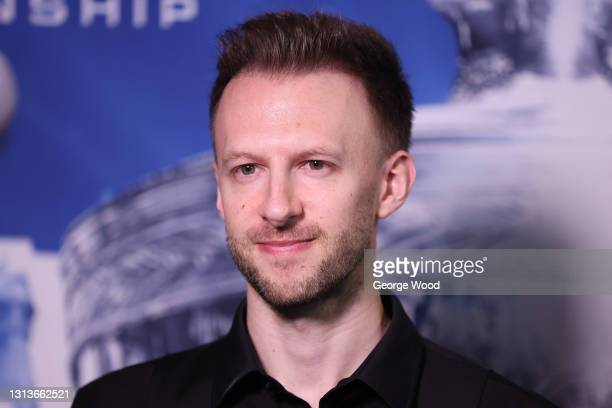 Judd Trump of England is interviewed following victory in the Betfred World Snooker Championship Round One match between Liam Highfield of England...