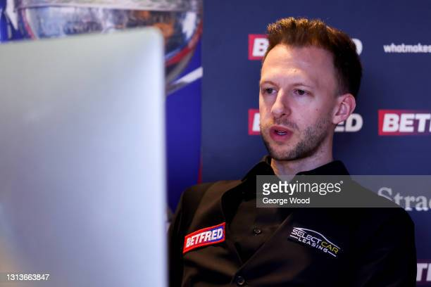 Judd Trump of England is interviewed via a zoom call following victory in the Betfred World Snooker Championship Round One match between Liam...