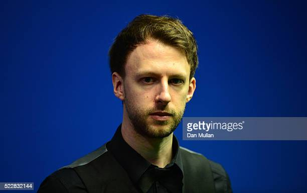 Judd Trump of England looks on during his first round match against Liang Wenbo of China on day six of the World Snooker Championship at The Crucible...