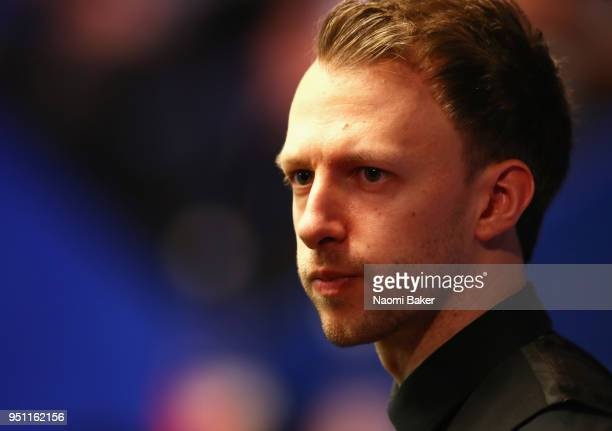 Judd Trump of England looks on during his first round match against Chris Wakelin of England during day five of the World Snooker Championship at...