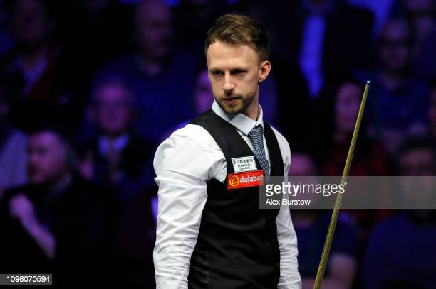 Judd Trump of England looks on during his quarterfinal match against Mark Selby of England on day six of the 2019 Dafabet Masters at Alexandra Palace...