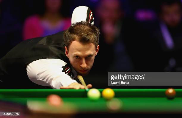 Judd Trump of England plays a shot during his match against Liang Wenbo of China on day two of The Dafabet Masters at Alexandra Palace on January 15...