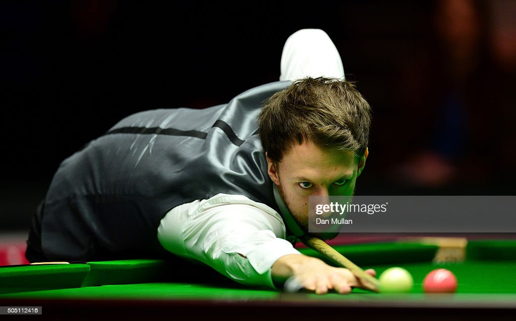 Judd Trump of England plays a shot during his quarter final match against Neil Robertson of Australia during Day Six of The Dafabet Masters at Alexandra Palace on January 15, 2016 in London, England.