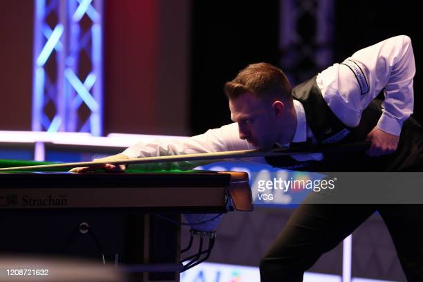 Judd Trump of England plays a shot during the 1st round match against Michael Holt of England on day two of 2020 Coral Players Championship at...