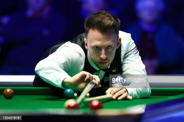 Judd Trump of England plays a shot during the 2nd round match against Kyren Wilson of England on day four of 2020 Coral World Grand Prix at the...