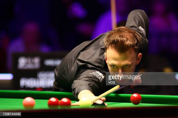 Judd Trump of England plays a shot during the 3rd round match against Igor Figueiredo of Brazil on day four of the 2020 ManBetX Welsh Open at the...