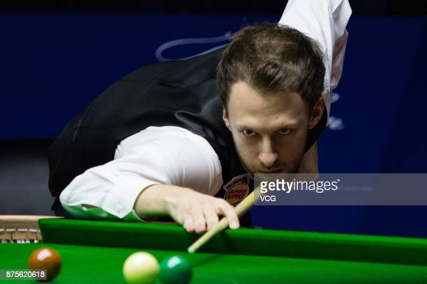 Judd Trump of England plays a shot during the final match against Ronnie O'Sullivan of England on day six of 2017 Shanghai Masters at Shanghai Grand...