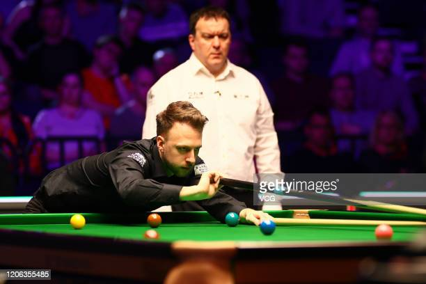 Judd Trump of England plays a shot during the quarterfinal match against Shaun Murphy of England on day five of the 2020 ManBetX Welsh Open at the...