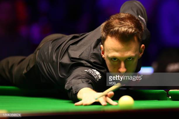 Judd Trump of England plays a shot during the quarter-final match against Shaun Murphy of England on day five of the 2020 ManBetX Welsh Open at the...
