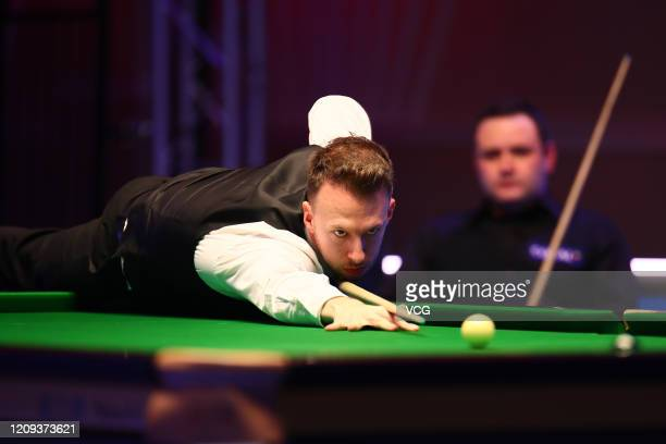 Judd Trump of England plays a shot during the quarterfinal match against Stephen Maguire of Scotland on day five of 2020 Coral Players Championship...