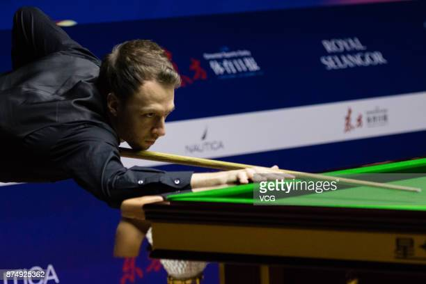 Judd Trump of England plays a shot during the quarterfinal match against Luca Brecel of Belgium on day four of 2017 Shanghai Masters at Shanghai...