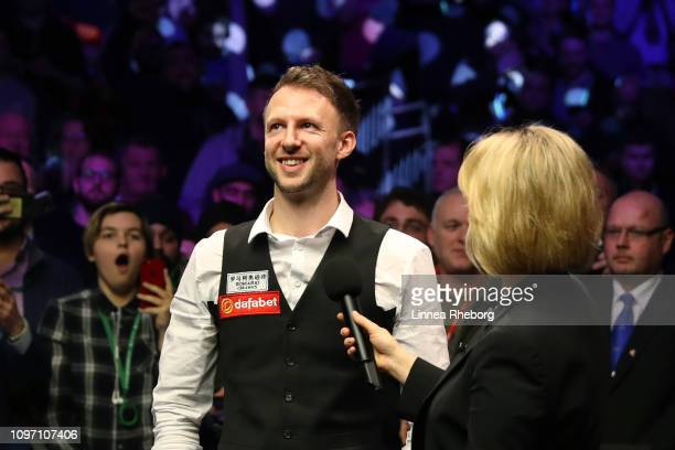 Judd Trump of England reacts as he is interviewed by Hazel Irvine following his win in The Dafabet Masters Final over Ronnie O'Sullivan of England at...
