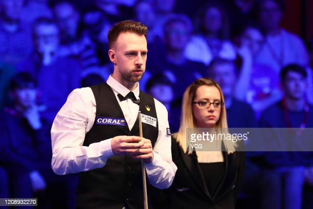 Judd Trump of England reacts during a quarterfinal match against John Higgins of Scotland on day three of 2020 Coral Players Championship at...