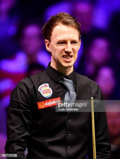 Judd Trump of England reacts during his match against Shaun Murphy of England during The Dafabet Masters on Day Six at Alexandra Palace on January 19...