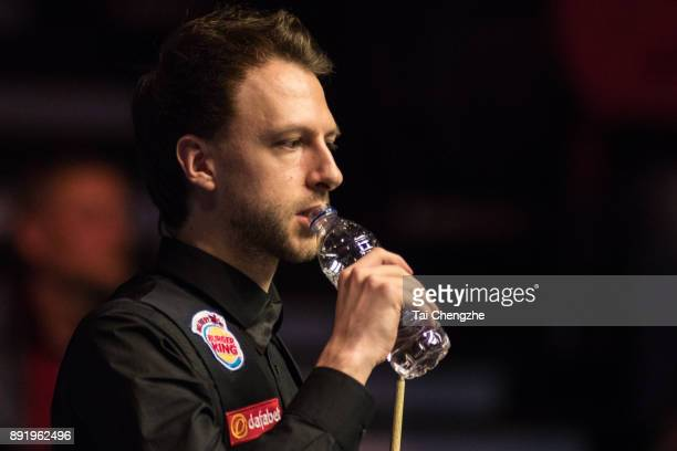 Judd Trump of England reacts during his second round match against Sam Craigie of England on day three of the 2017 Scottish Open at Emirates Arena on...