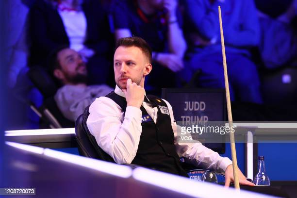 Judd Trump of England reacts during the 1st round match against Michael Holt of England on day two of 2020 Coral Players Championship at Southport...