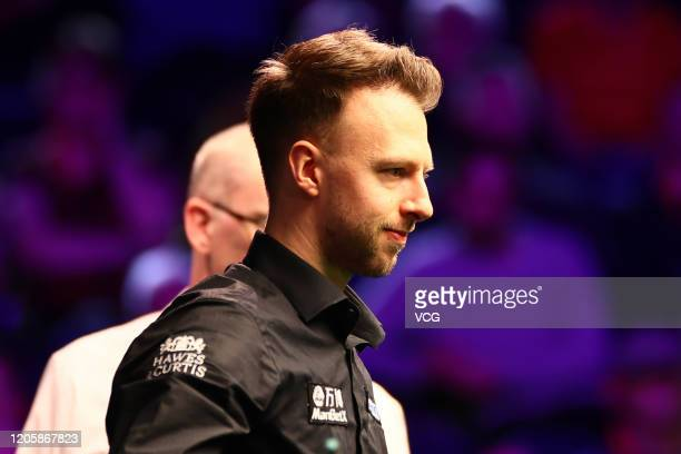 Judd Trump of England reacts during the 2nd round match against Billy Joe Castle of England on day three of the 2020 ManBetX Welsh Open at the...