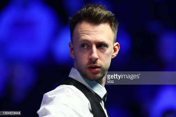 Judd Trump of England reacts during the 2nd round match against Kyren Wilson of England on day four of 2020 Coral World Grand Prix at the Centaur on...