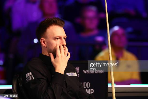 Judd Trump of England reacts during the 3rd round match against Igor Figueiredo of Brazil on day four of the 2020 ManBetX Welsh Open at the...