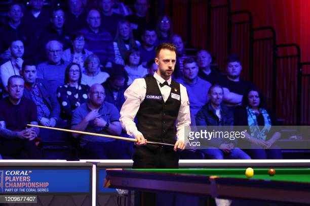 Judd Trump of England reacts during the final match against Yan Bingtao of China on day seven of 2020 Coral Players Championship at Southport Theatre...