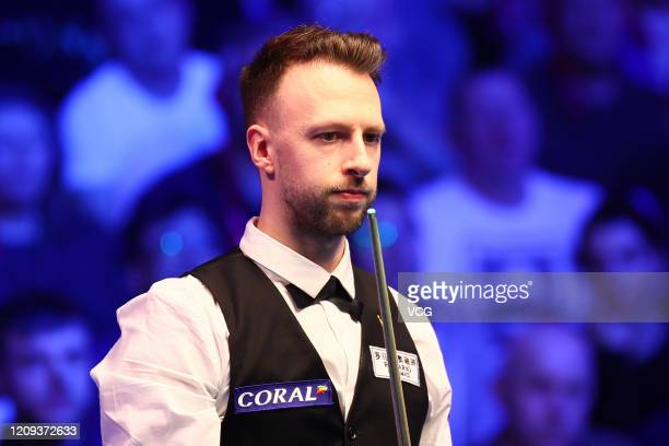 Judd Trump of England reacts during the quarter-final match against Stephen Maguire of Scotland on day five of 2020 Coral Players Championship at...