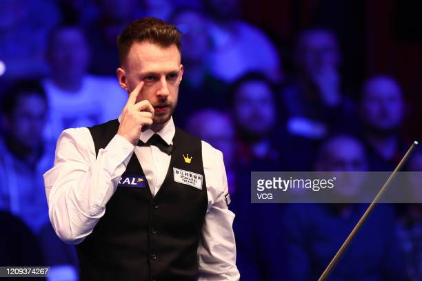 Judd Trump of England reacts during the quarterfinal match against Stephen Maguire of Scotland on day five of 2020 Coral Players Championship at...