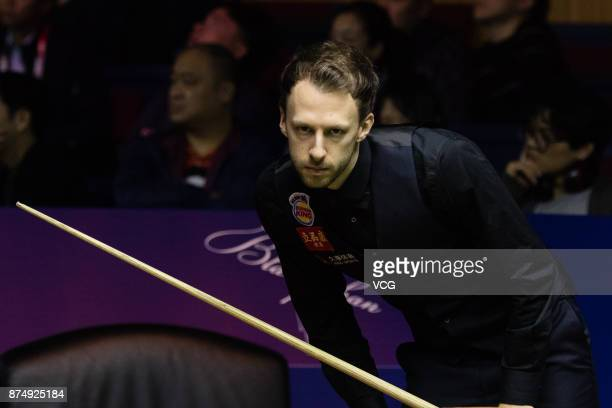 Judd Trump of England reacts during the quarterfinal match against Luca Brecel of Belgium on day four of 2017 Shanghai Masters at Shanghai Grand...