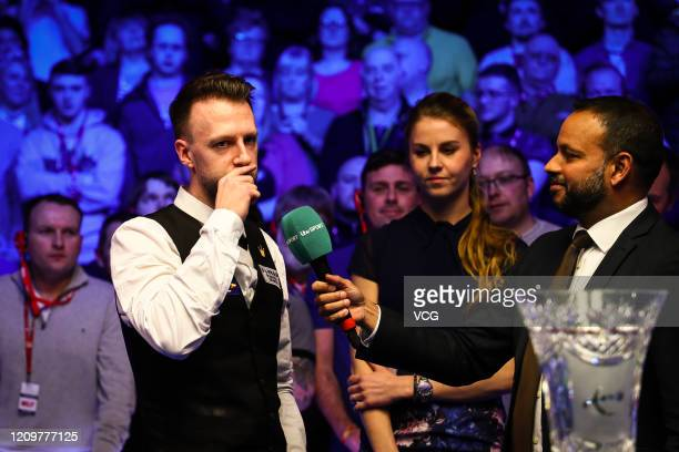 Judd Trump of England receives an interview after winning the final match against Yan Bingtao of China on day seven of 2020 Coral Players...