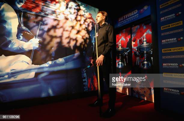 Judd Trump of England waits to walk on stage prior to his first round match against Chris Wakelin of England during day five of the World Snooker...