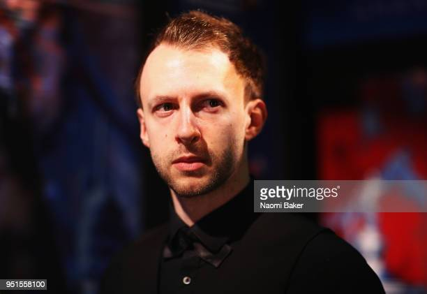 Judd Trump of England waits to walk on stage prior to his first round match against Chris Wakelin of England during day six of the World Snooker...