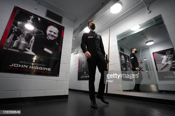 Judd Trump of England waits to walk out during day 11 of the Betfred World Snooker Championships 2021 at the Crucible Theatre on April 27, 2021 in...