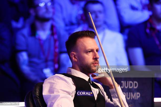Judd Trump of England watches during the final match against Yan Bingtao of China on day seven of 2020 Coral Players Championship at Southport...