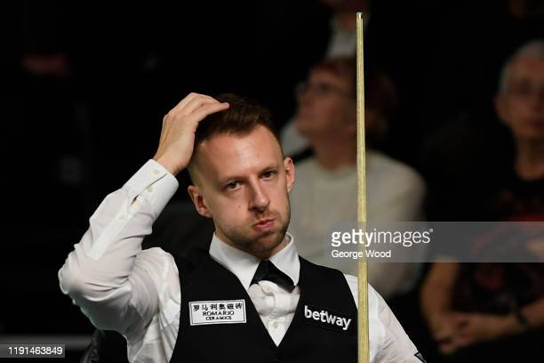 Judd Trump reacts during his match against Amine Amiri on day 3 of the Betway UK Championship at The Barbican on November 28, 2019 in York, England.
