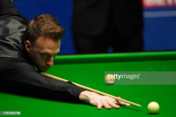 Judd Trump seen in his match against Shaun Murphy during day 11 of the Betfred World Snooker Championships 2021 at the Crucible Theatre on April 27,...
