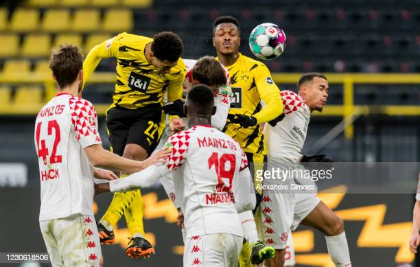 Jude Bellingham and Dan-Axel Zagadou of Borussia Dortmund in action during the Bundesliga match between Borussia Dortmund and 1. FSV Mainz 05 at the...