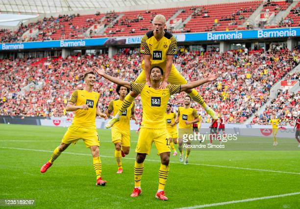 Jude Bellingham and Erling Haaland during the Bundesliga match between Bayer 04 Leverkusen and Borussia Dortmund at BayArena on September 11, 2021 in...