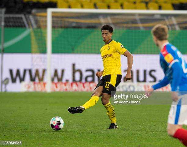Jude Bellingham in action during the match between Borussia Dortmund and Holstein Kiel on May 01, 2021 in Dortmund, Germany.