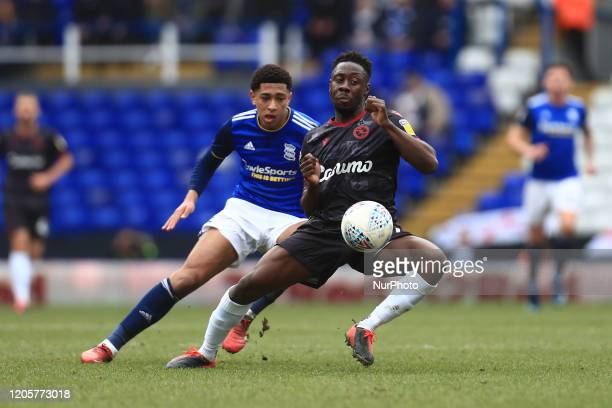 Jude Bellingham of Birmingham City and Andy Yiadom of Reading during the Sky Bet Championship match between Birmingham City and Reading at St Andrews...