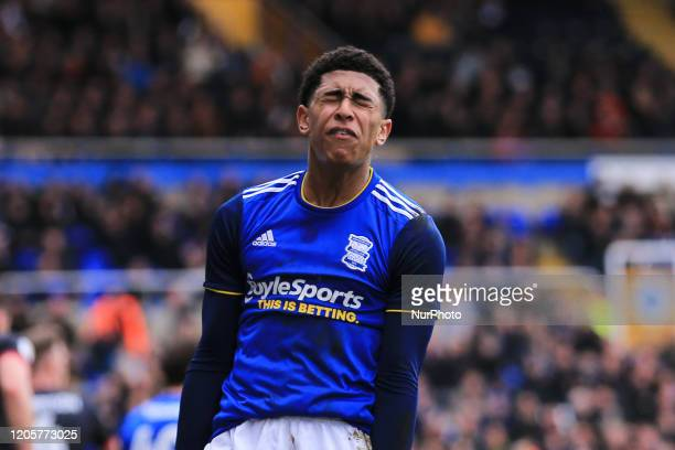 Jude Bellingham of Birmingham City annoyed after his missed goal scoring opportunity during the Sky Bet Championship match between Birmingham City...