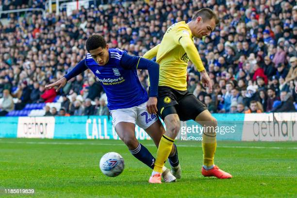 Jude Bellingham of Birmingham City battling with Jake Cooper of Millwall during the Sky Bet Championship match between Birmingham City and Millwall...