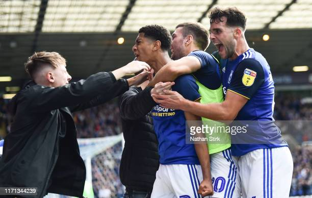 Jude Bellingham of Birmingham City celebrates after he scores their second goal during the Sky Bet Championship match between Birmingham City and...