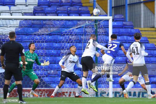 Jude Bellingham of Birmingham City hits the crossbar with a header during the Sky Bet Championship match between Birmingham City and Derby County at...
