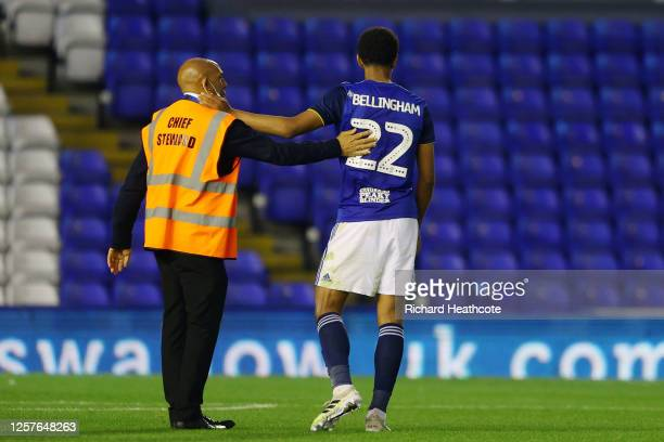 Jude Bellingham of Birmingham City is farewelled by a steward after the Sky Bet Championship match between Birmingham City and Derby County at St...