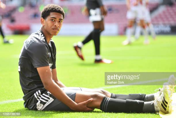 Jude Bellingham of Birmingham City looks on during the Sky Bet Championship match between Stoke City and Birmingham City at Bet365 Stadium on July 12...