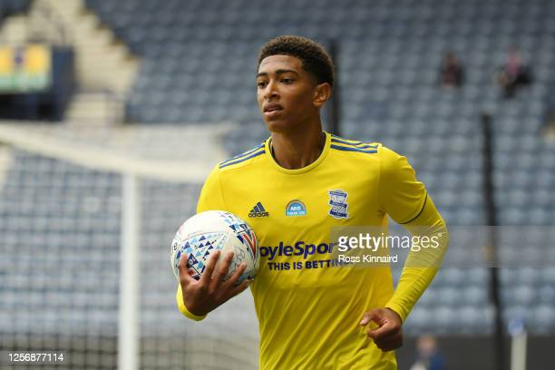 Jude Bellingham of Birmingham City looks on during the Sky Bet Championship match between Preston North End and Birmingham City at Deepdale on July...