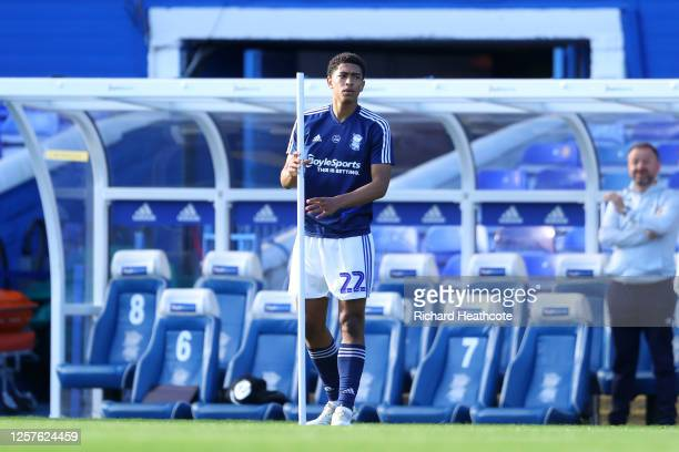 Jude Bellingham of Birmingham City warms up ahead his last game for Birmingham City prior the Sky Bet Championship match between Birmingham City and...