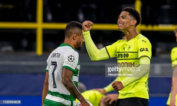 Jude Bellingham of Borussia Dortmund after the final whistle during the Champions League Group C match between Borussia Dortmund and Sporting...