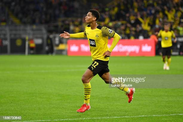 Jude Bellingham of Borussia Dortmund celebrates after scoring their side's second goal during the Bundesliga match between Borussia Dortmund and TSG...